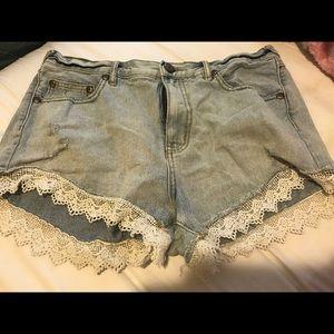 Denim lace shorts